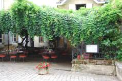 Restaurant Logis de la Cadene just off Rue du Tertre de la Tente - our evening meal in the patio style garden was very pleasant indeed. — in Saint-Émilion.