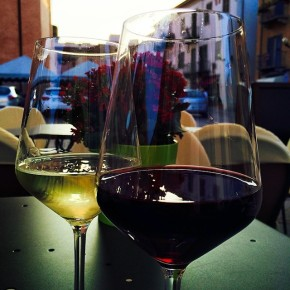 First glasses of Dolcetto & Arneis in Alba