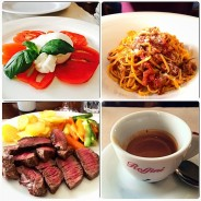 Fantastic lunch at Centro Storico in Serralunga d'Alba - owned by Alessio & his wife, impressive winelist. Clockwise: fresh burrata with tomato & basil, linguine al ragu, veal steak to die for & an obligatory espressito to finish the feast.