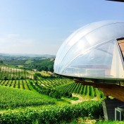 The view of the viewing platform in shape of a grape.. First stop at Ceretto Winery.. What a view!