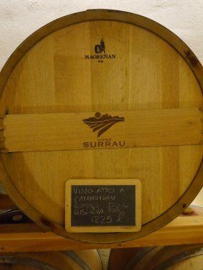 Oak barrel with Cannonau (Sardinian name for Grenache/Garnacha) ageing inside