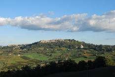 Stunning view of the town of Montepulciano on top of the hill