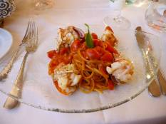 Linguine with lobster paired very well with the Vermentino on the next picture..
