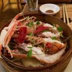 Steamed Scottish langoustine with crispy Jinghua ham