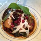 Glazed monk fish cheeks with uyghur pomegranate salad