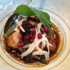 Glazed monk fish cheeks with uyghur pomegranate salad