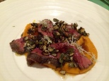 Venison, onion squash, honey, sunflower seeds, reindeer moss