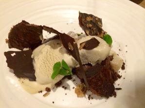 Jerusalem artichoke ice cream, chocolate crumb, wood sorrel