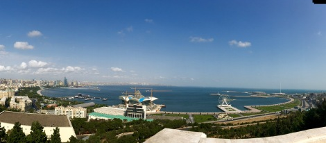 Panoramic view over the Baku Boulevard and the Bay