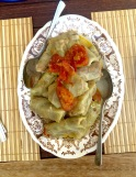 Kalam dolma (cabbage leaf dolma). Cabbage leaves stuffed with mince meat.