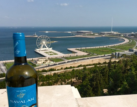 Baku Boulevard with the Ferris Wheel, Flag square and the Crystal Hall (where Eurovision 2012 took place) in in the distance