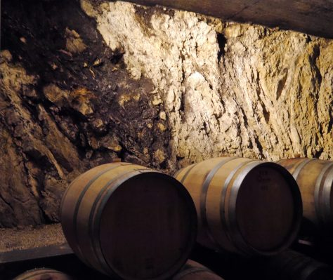 Exposed natural rock at the cellar of Michele Satta