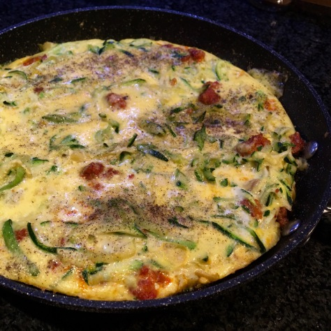 Zucchini, Chorizo & Parmigiano Frittata